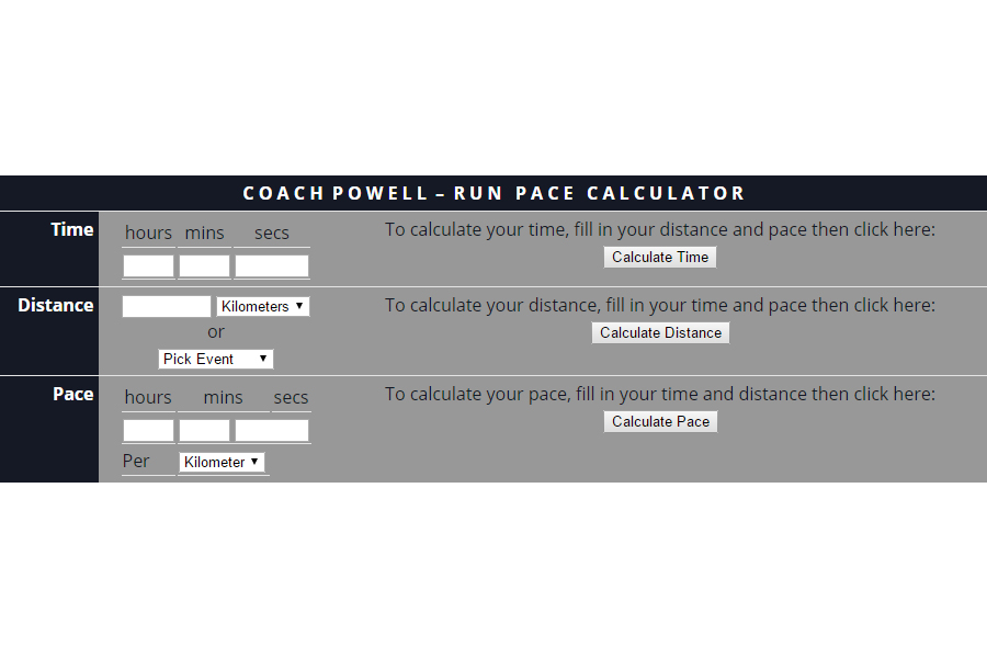 Run Pace Calculator